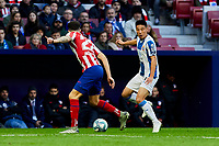 Mario Hermoso of Atletico de Madrid and Wu Lei of RCD Espanyol during La Liga match between Atletico de Madrid and RCD Espanyol at Wanda Metropolitano Stadium in Madrid, Spain. November 10, 2019. (ALTERPHOTOS/A. Perez Meca)<br /> Liga Spagna 2019/2020 <br /> Atletico Madrid - Espanyol <br /> Photo Alterphotos / Insidefoto <br /> ITALY ONLY