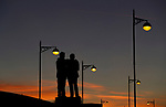 The Brian Clough and Peter Taylor statue as the sun sets during the FA Cup match at the Pride Park Stadium, Derby. Picture date: 4th February 2020. Picture credit should read: Darren Staples/Sportimage