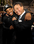 "(Boston Ma 051614) Dancer Charles ""Lil Buck"" Riley, left, and Cellist  Yo-Yo Ma,  during the Institute of Contemporary Art Gala, Friday night at the institute in Boston. (Jim Michaud Photo) Adv"