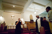 New York, USA - An unidentified young man raps during mass at the Greater Hood Memorial AME Zion Church, home of the Hip-Hop Church, in Harlem, New York, USA, 20 January 2005. Photo Credit: David Brabyn.