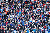 Slovakia supporters cheer their team on during the UEFA EURO 2020 Qualifier match between Wales and Slovakia at the Cardiff City Stadium, Cardiff, Wales, UK. Sunday 24 March 2019