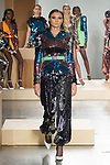 Model walks runway in a multi-colour sequin MORGAN dress with hood Black sequin GIO TRACK PANT with gathered hem, outfit from the Greta Constantine Spring Summer 2018 collection by Kirk Pickersgill and Stephen Wong on September 6, 2017; at Pier 59 Studios during New York Fashion Week.