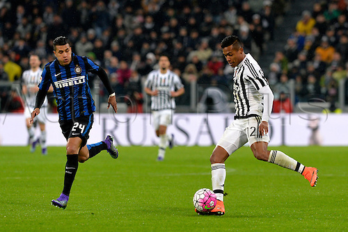 28.02.2016. Juventus Stadium, Turin, Italy. Serie A Football. Juventus versus Inter Milan. Paulo Dybala crosses the ball while Jeison Murillo looks on