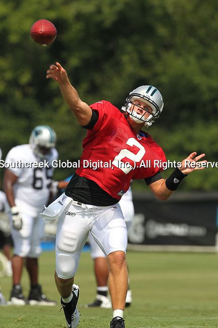 30July2010: Carolina Panther quarterback Jimmy Clausen (#2). The Panthers held an afternoon training camp session at Wofford College in Spartanburg, South Carolina.