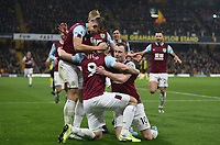 Burnley's Chris Wood is congratulated after scoring his side's first goal<br /> <br /> Photographer Rob Newell/CameraSport<br /> <br /> The Premier League - Watford v Burnley - Saturday 23rd November 2019 - Vicarage Road - Watford <br /> <br /> World Copyright © 2019 CameraSport. All rights reserved. 43 Linden Ave. Countesthorpe. Leicester. England. LE8 5PG - Tel: +44 (0) 116 277 4147 - admin@camerasport.com - www.camerasport.com