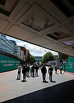 Tranmere Rovers 1 Forest Green Rovers 3, 14/05/2017. Wembley Stadium, Conference play off Final. Fans reflected in the underpass from Wembley Park tube station before the Vanarama Conference play off Final  between Tranmere Rovers v Forest Green Rovers at Wembley. Photo by Paul Thompson.