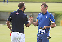 Ian Poulter (Team Europe) beats Dustin Johnson (Team USA) at the 18th  during Sunday's Singles, at the Ryder Cup, Le Golf National, Île-de-France, France. 30/09/2018.<br /> Picture David Lloyd / Golffile.ie<br /> <br /> All photo usage must carry mandatory copyright credit (© Golffile | David Lloyd)
