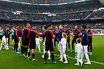 Sevilla FC congrats to Real Madrid before the Spanish La Liga match round 20 between Real Madrid and Granada CF at Santiago Bernabeu Stadium in Madrid, Spain