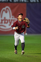 Mahoning Valley Scrappers outfielder Ka'ai Tom (1) catches a fly ball during a game against the Auburn Doubledays on September 4, 2015 at Falcon Park in Auburn, New York.  Auburn defeated Mahoning Valley 5-1.  (Mike Janes/Four Seam Images)