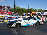 May 6, 2017; Commerce, GA, USA; NHRA pro stock driver Tanner Gray (near) races alongside Jason Line during qualifying for the Southern Nationals at Atlanta Dragway. Mandatory Credit: Mark J. Rebilas-USA TODAY Sports