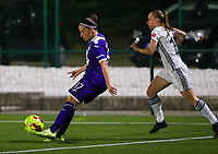 20190920 – LEUVEN, BELGIUM : RSC Anderlecht's Laura-Roxana Rus (17) and OHL's Lotte Michiels (15) are pictured during a women soccer game between Dames Oud Heverlee Leuven A and RSC Anderlecht Ladies on the fourth matchday of the Belgian Superleague season 2019-2020 , the Belgian women's football  top division , friday 20 th September 2019 at the Stadion Oud-Heverlee Korbeekdam in Oud Heverlee  , Belgium  .  PHOTO SPORTPIX.BE | SEVIL OKTEM