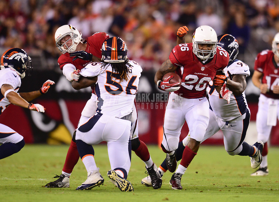 Aug. 30, 2012; Glendale, AZ, USA; Arizona Cardinals running back (26) Beanie Wells against the Denver Broncos during a preseason game at University of Phoenix Stadium. Mandatory Credit: Mark J. Rebilas-