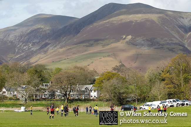 Keswick 1 Kendal 1, 15/04/2017. Fitz Park, Westmoreland League. The Fells surrounding Keswick picked out by low afternoon sun. Photo by Paul Thompson.