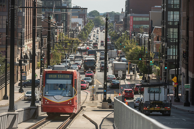 UNITED STATES - SEPTEMBER 02: A streetcar and other traffic are seen on H Street, NE, September 2, 2016. (Photo By Tom Williams/CQ Roll Call)