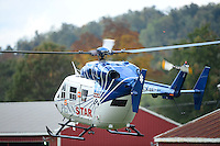 Oct. 5, 2012; Mohnton, PA, USA: NHRA medical medivac helicopter during qualifying for the Auto Plus Nationals at Maple Grove Raceway. Mandatory Credit: Mark J. Rebilas-