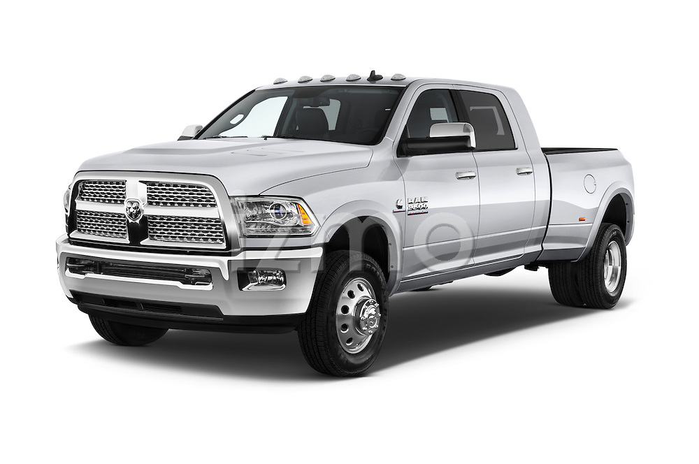 2015 Ram 3500 Laramie Mega Cab 4 Door Van angular front stock photos of front three quarter view