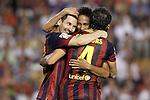 FC Barcelona's Leo Messi (l), Cesc Fabregas (r) and Neymar Santos Jr celebrate goal during La Liga match.September 1,2013. (ALTERPHOTOS/Acero)