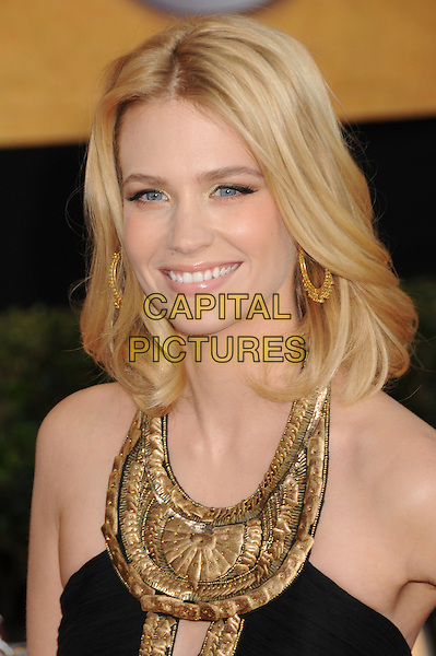 JANUARY JONES .15th Annual Screen Actors Guild Awards held at the Shrine Auditorium,  Los Angeles, California, USA, .25 January 2009..SAG red carpet arrivals portrait headshot gold black dress embellished halterneck.CAP/ADM/BP.©Byron Purvis/Admedia/Capital PIctures