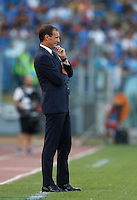 Calcio, Serie A: Lazio vs Juventus. Roma, stadio Olimpico, 27 agosto 2016.<br /> Juventus coach Massimiliano Allegri gives indications to his players during the Serie A soccer match between Lazio and Juventus, at Rome's Olympic stadium, 27 August 2016. Juventus won 1-0.<br /> UPDATE IMAGES PRESS/Isabella Bonotto