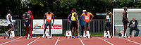 29 JUL 2009 - LOUGHBOROUGH, GBR - Competitors prepare for the start of the men 100m final - Loughborough European Athletics Permit Meeting (PHOTO (C) NIGEL FARROW)