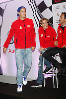 Real Madrid players Cristiano Ronaldo (l) and Luka Modric participate and receive new Audi during the presentation of Real Madrid's new cars made by Audi at the Jarama racetrack on November 8, 2012 in Madrid, Spain.(ALTERPHOTOS/Harry S. Stamper) .<br />