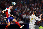 Saul Niguez of Atletico de Madrid and Sergio Ramos of Real Madrid during La Liga match between Atletico de Madrid and Real Madrid at Wanda Metropolitano Stadium in Madrid, Spain. September 28, 2019. (ALTERPHOTOS/A. Perez Meca)