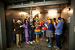 BROOKLYN -- APRIL 16, 2011: Studiomates and friends take the freight elevator up to their workspace together after march in their rainbow parade on April 16, 2011 in Dumbo, Brooklyn.   (PHOTOGRAPH BY MICHAEL NAGLE)