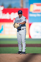 Tri-City Dust Devils relief pitcher Efrain Contreras (25) during a Northwest League game against the Everett AquaSox at Everett Memorial Stadium on September 3, 2018 in Everett, Washington. The Everett AquaSox defeated the Tri-City Dust Devils by a score of 8-3. (Zachary Lucy/Four Seam Images)
