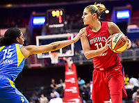 Washington, DC - July 13, 2018: Washington Mystics guard Elena Delle Donne (11) is guarded by Chicago Sky forward Gabby Williams (15) during game between the Washington Mystics and Chicago Sky at the Capital One Arena in Washington, DC. The Mystics defeat the Sky 88-72 (Photo by Phil Peters/Media Images International)