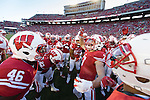 Wisconsin Badgers captain Michael Caputo (7) leads the team prior to an NCAA college football game against the Hawaii Rainbow Warriors Saturday, September 26, 2015. The Badgers won 28-0. (Photo by David Stluka)
