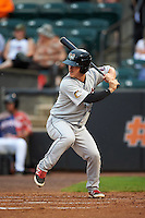 Tri-City ValleyCats second baseman Brooks Marlow (5) at bat during a game against the Aberdeen Ironbirds on August 6, 2015 at Ripken Stadium in Aberdeen, Maryland.  Tri-City defeated Aberdeen 5-0 in a combined no-hitter.  (Mike Janes/Four Seam Images)