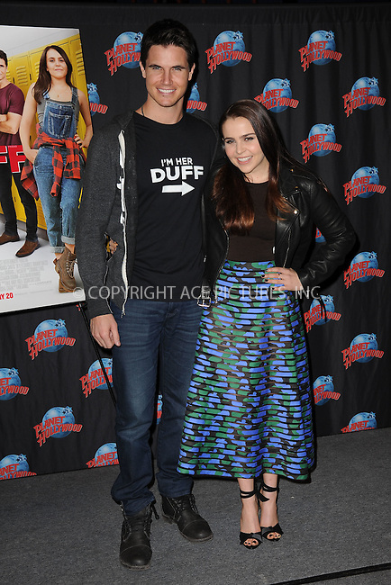 WWW.ACEPIXS.COM<br /> February 19, 2015 New York City<br /> <br /> Robbie Amell and Mae Whitman of 'The Duff'  visit Planet Hollywood Times Square on February 19, 2015 in New York City.<br /> <br /> Please byline: Kristin Callahan/AcePictures<br /> <br /> ACEPIXS.COM<br /> <br /> Tel: (646) 769 0430<br /> e-mail: info@acepixs.com<br /> web: http://www.acepixs.com