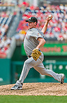 30 August 2015: Miami Marlins pitcher Brian Ellington on the mound against the Washington Nationals at Nationals Park in Washington, DC. The Nationals rallied to defeat the Marlins 7-4 in the third game of their 3-game weekend series. Mandatory Credit: Ed Wolfstein Photo *** RAW (NEF) Image File Available ***