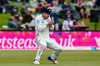 Henry Nicholls of the Black Caps  catches out Jonny Bairstow of England during Day 4 of the Second International Cricket Test match, New Zealand V England, Hagley Oval, Christchurch, New Zealand, 2nd April 2018.Copyright photo: John Davidson / www.photosport.nz