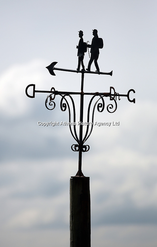 A welsh weathervane at the village of Staylittle (Penffordd-Las in welsh)