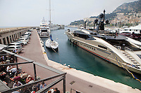 View of Cap d'Ail port from Fontvielle, just behind Stade Louis II, where the International University of Monaco is situated, Monaco, 19 April 2013