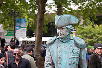 Civil War statue street performer, Northwest Folklife Festival 2016, Seattle Center, Washington, USA.