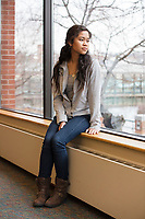 Socheata Mam, 19, is a first year student at Middlesex Community College studying Criminal Justice. A Cambodian-American, she is seen here in the school's cafeteria on Thurs., Feb. 15, 2018.