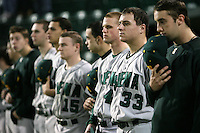 February 20, 2010:  Ed Charles (33) and the Siena Saints during the national anthem before the season opener at Melching Field at Conrad Park in DeLand, FL.  Siena defeated Stetson by the score of 8-4.  Photo By Mike Janes/Four Seam Images