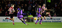 Port Vale's Emmanuel Oyeleke scores his side's equalising goal to make the score 1-1<br /> <br /> Photographer Chris Vaughan/CameraSport<br /> <br /> The EFL Sky Bet League Two - Lincoln City v Port Vale - Tuesday 1st January 2019 - Sincil Bank - Lincoln<br /> <br /> World Copyright © 2019 CameraSport. All rights reserved. 43 Linden Ave. Countesthorpe. Leicester. England. LE8 5PG - Tel: +44 (0) 116 277 4147 - admin@camerasport.com - www.camerasport.com