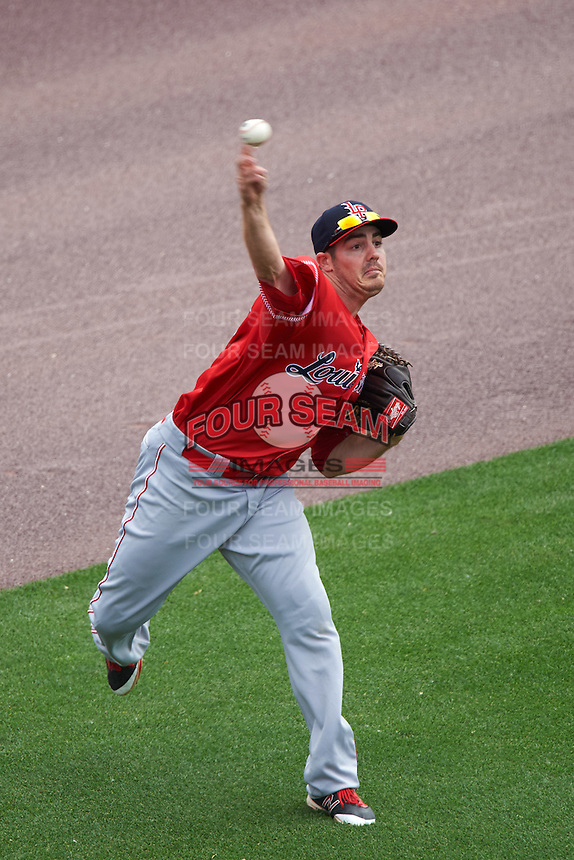 Louisville Bats left fielder Steve Selsky (13) throws the ball in during a game against the Buffalo Bisons on June 23, 2016 at Coca-Cola Field in Buffalo, New York.  Buffalo defeated Louisville 9-6.  (Mike Janes/Four Seam Images)