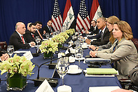 United States President Barack Obama (third from right)attends a bilateral meeting with Prime Minister Haider al-Abadi  (R) of Iraq at the Lotte New York Palace Hotel in New York, NY, on September 19, 2016. <br /> Credit: Anthony Behar / Pool via CNP /MediaPunch