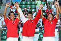 (L to R) Yuichi Sugita, Kei Nishikori,  Eiji Takeuchi Head coach (JPN), September 18, 2011 - Tennis : Davis Cup 2011, World Group play-off at Ariake Colosseum, Tokyo, Japan. (Photo by Daiju Kitamura/AFLO SPORT) [1045]