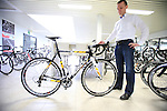 Jochen Bessemans, Ridley PR & Marketing Manager shows me the 2013 top of the range carbon cyclocross bike in the showroom at the factory in Paal-Beringen, Belgium, 21st March 2013 (Photo by Eoin Clarke 2013)