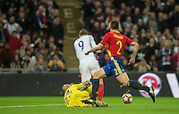 Pepe Reina of Spain brings down Jamie Vardy (Leicester City) of England for a penalty during the International Friendly match between England and Spain at Wembley Stadium, London, England on 15 November 2016. Photo by Andy Rowland.