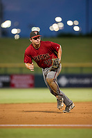 AZL Diamondbacks Buddy Kennedy (43) attempts to make a play on a ball hit down the third base line during the game against the AZL Cubs on August 11, 2017 at Sloan Park in Mesa, Arizona. AZL Cubs defeated the AZL Diamondbacks 7-3. (Zachary Lucy/Four Seam Images)