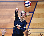 Althof player Karinna Gall slams the ball over. Althoff lost to Minooka in the championship game of the O'Fallon Class 4A volleyball sectional at O'Fallon HS in O'Fallon, IL on November 6, 2019.<br /> Tim Vizer/Special to STLhighschoolsports.com