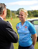 Drybrook, England. Michaela Staniford, England Women Sevens Captain during the RFU and Canterbury   Official launch of the new season's England kit at Drybrook RFC Mannings Ground, Gloucestershire, England on September 19, 2012