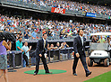 Hideki Matsui,<br /> JULY 28, 2013 - MLB :<br /> Hideki Matsui enters the field for his official retirement ceremony before the Major League Baseball game against the Tampa Bay Rays at Yankee Stadium in The Bronx, New York, United States. (Photo by AFLO)