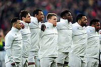 England players line up for the national anthems. RBS Six Nations match between England and Ireland on February 27, 2016 at Twickenham Stadium in London, England. Photo by: Patrick Khachfe / Onside Images